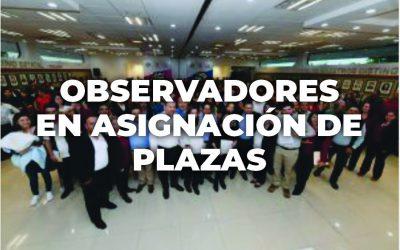 Convocatoria para observadores en asignación de plazas