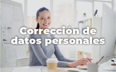 CORRECIÓN DE DATOS PERSONALES