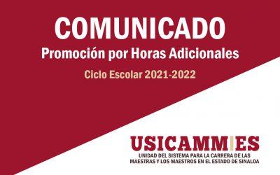 COMUNICADO PROMOCIÓN POR HORAS ADICIONALES 2021-2022