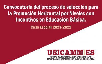 CONVOCATORIA DEL PROCESO DE SELECCIÓN PARA LA PROMOCIÓN HORIZONTAL POR NIVELES CON INCENTIVOS EN EDUCACIÓN BÁSICA 2021-2022