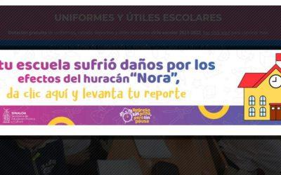 """Habilita SEPyC plataforma de reporte de daños a infraestructura escolar por el paso de """"Nora"""""""