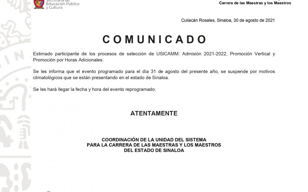 Reprogramación del evento protocolario de Admisión 2021-2022, Promoción Vertical y Promoción por Horas Adicionales